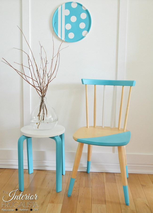 Beau Scandinavian Half Painted Chair And Stool 650