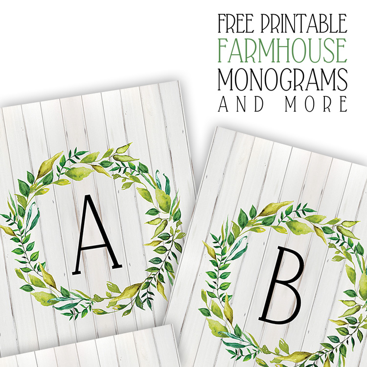 photograph about Free Monogram Printable named Free of charge Printable Farmhouse Monograms and Added - The Cottage Market place