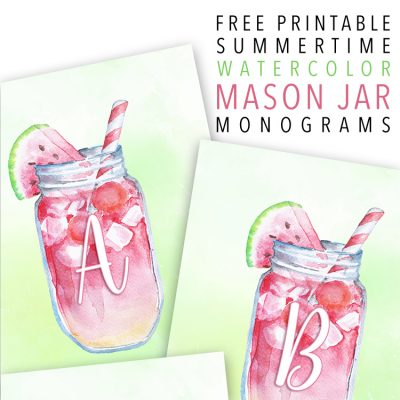 Free Printable Summertime Watercolor Mason Jar Monograms