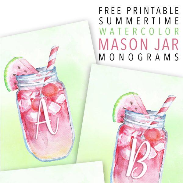 Free Printable Summertime Watercolor Mason Jar Monograms