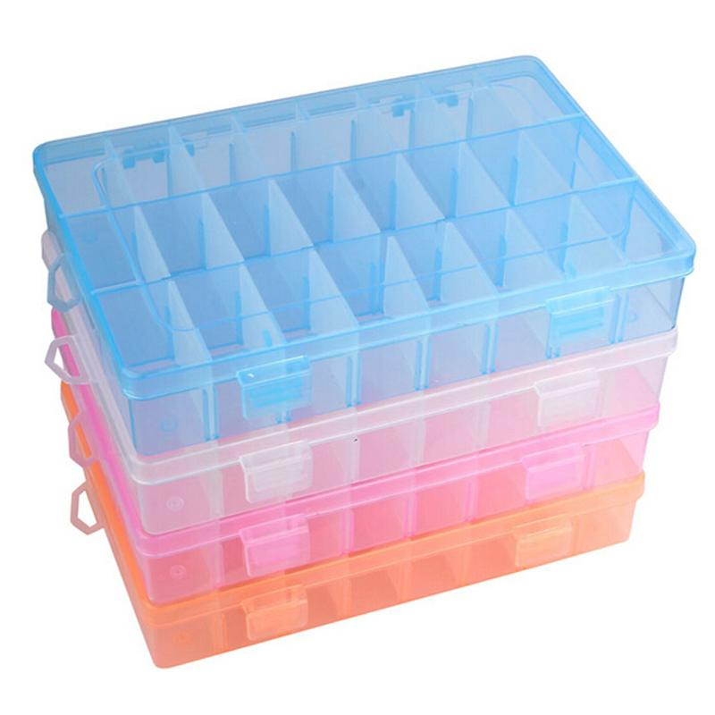 24 Compartments Plastic Box Jewelry Bead Storage Container font b