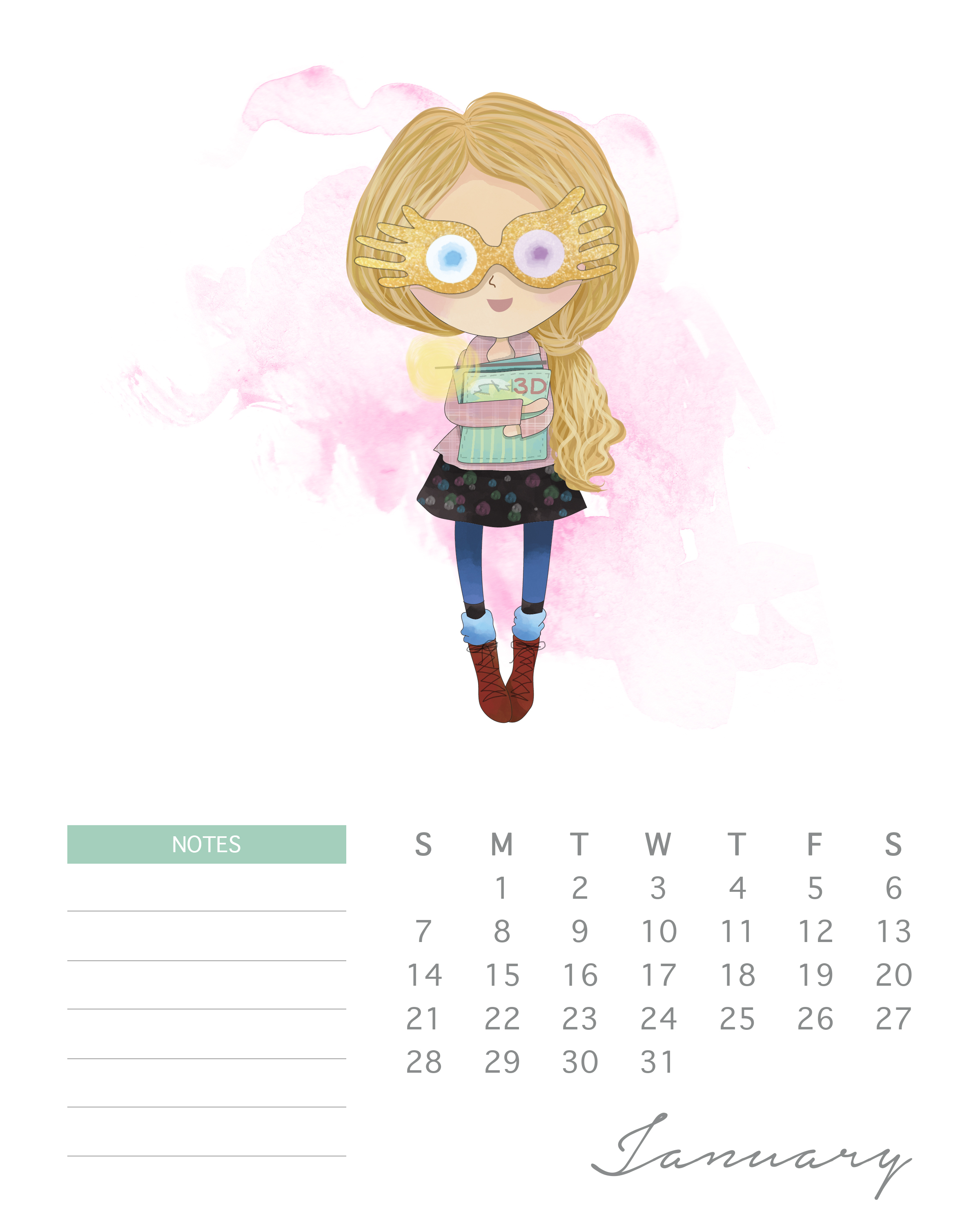 Free Printable 2018 Watercolor Harry Potter Calendar - The ...