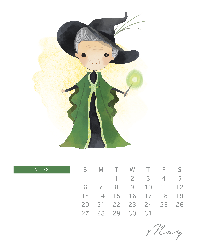 Calendario Harry Potter.Free Printable 2018 Watercolor Harry Potter Calendar The