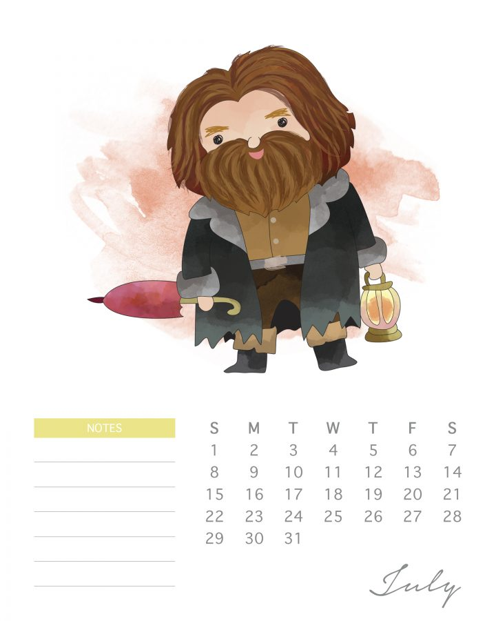 Free Printable 2018 Watercolor Harry Potter Calendar The Cottage