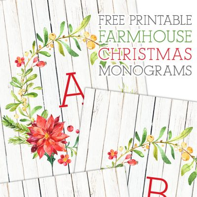 Free Printable Farmhouse Christmas Monograms