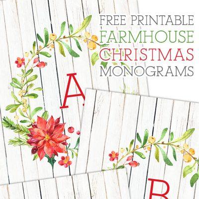 Free Printable Farmhouse Christmas Monograms