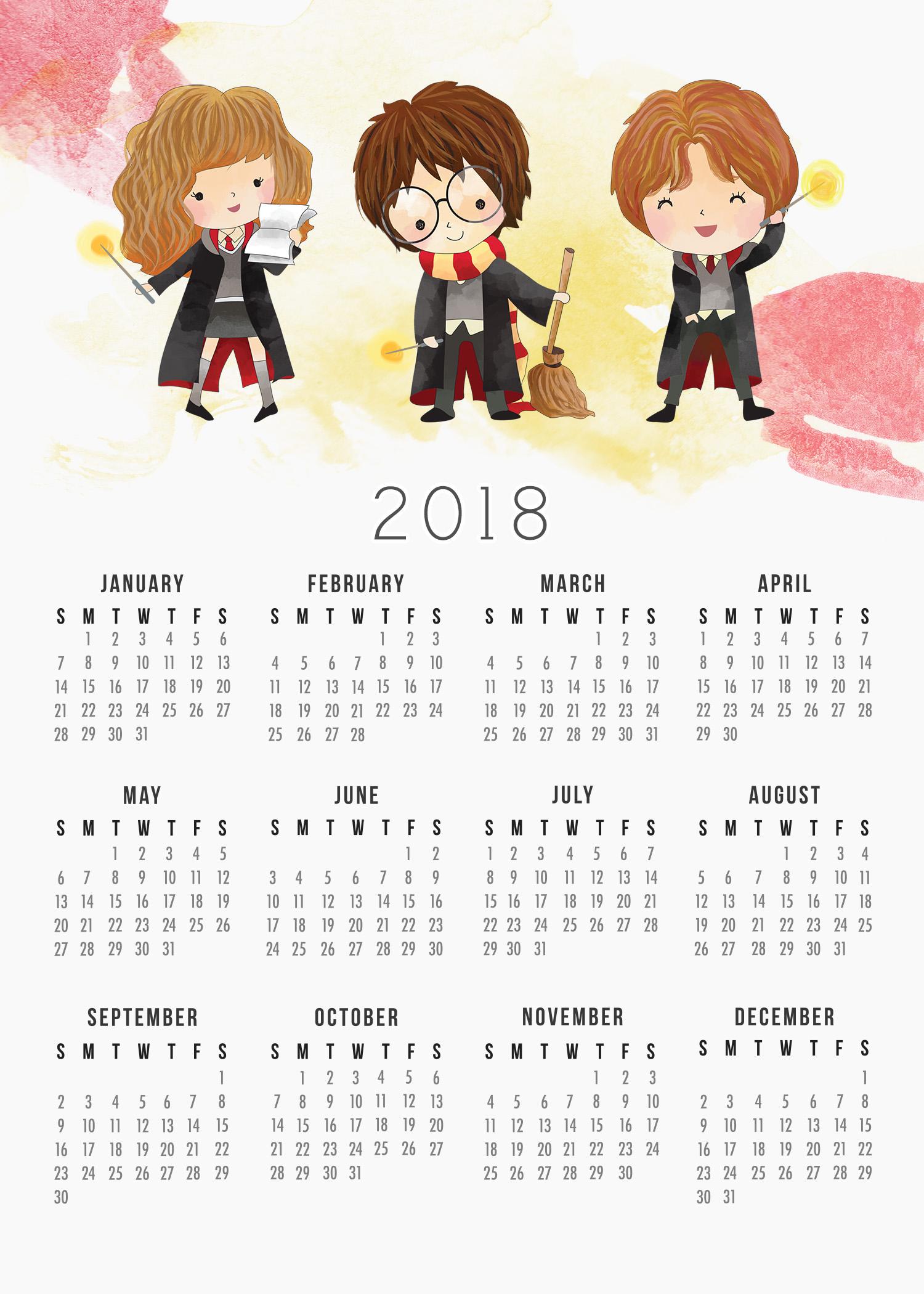 Free Printable 2018 Harry Potter Calendar - The Cottage Market