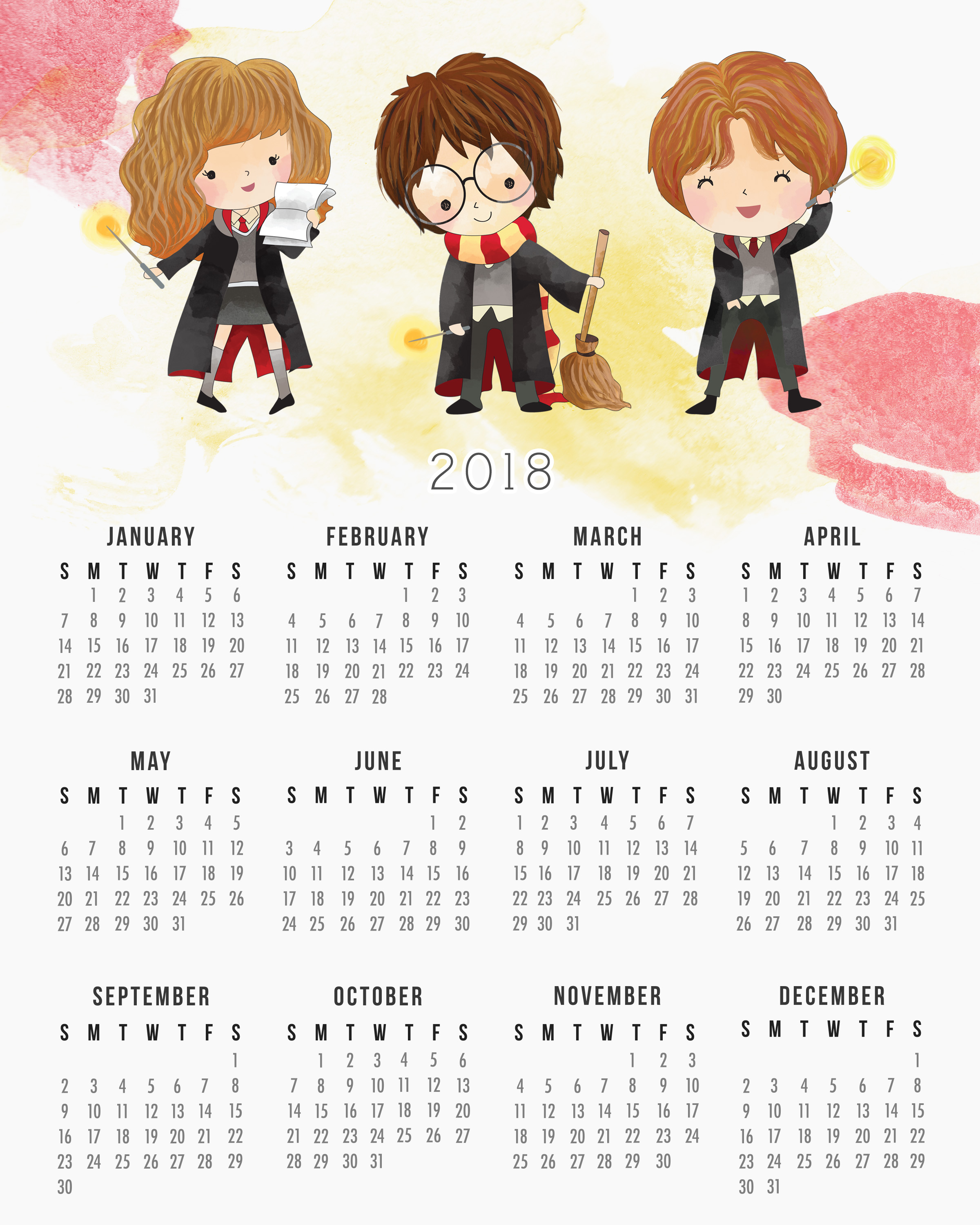 Harry Potter Full Page 2017 Printable Calendar