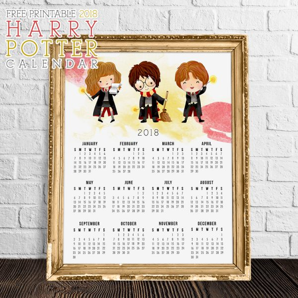 Free Printable 2018 Harry Potter Calendar