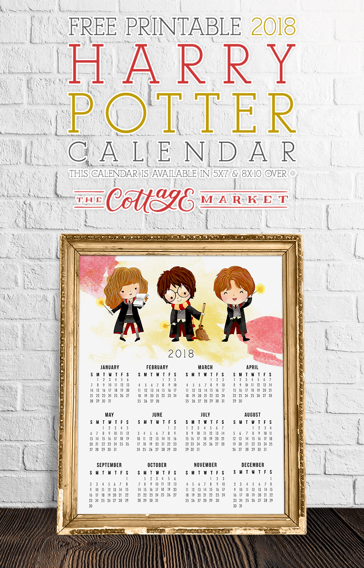 Free Printable Harry Potter Calendar from The Cottage Market