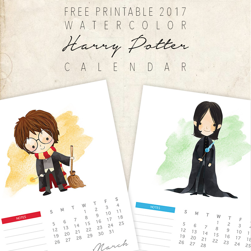Free Printable Watercolor Harry Potter Character Calendar