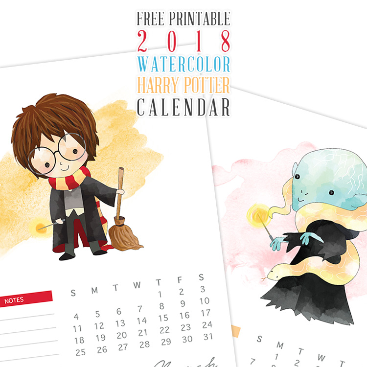 2018 Watercolor Harry Potter Calendar