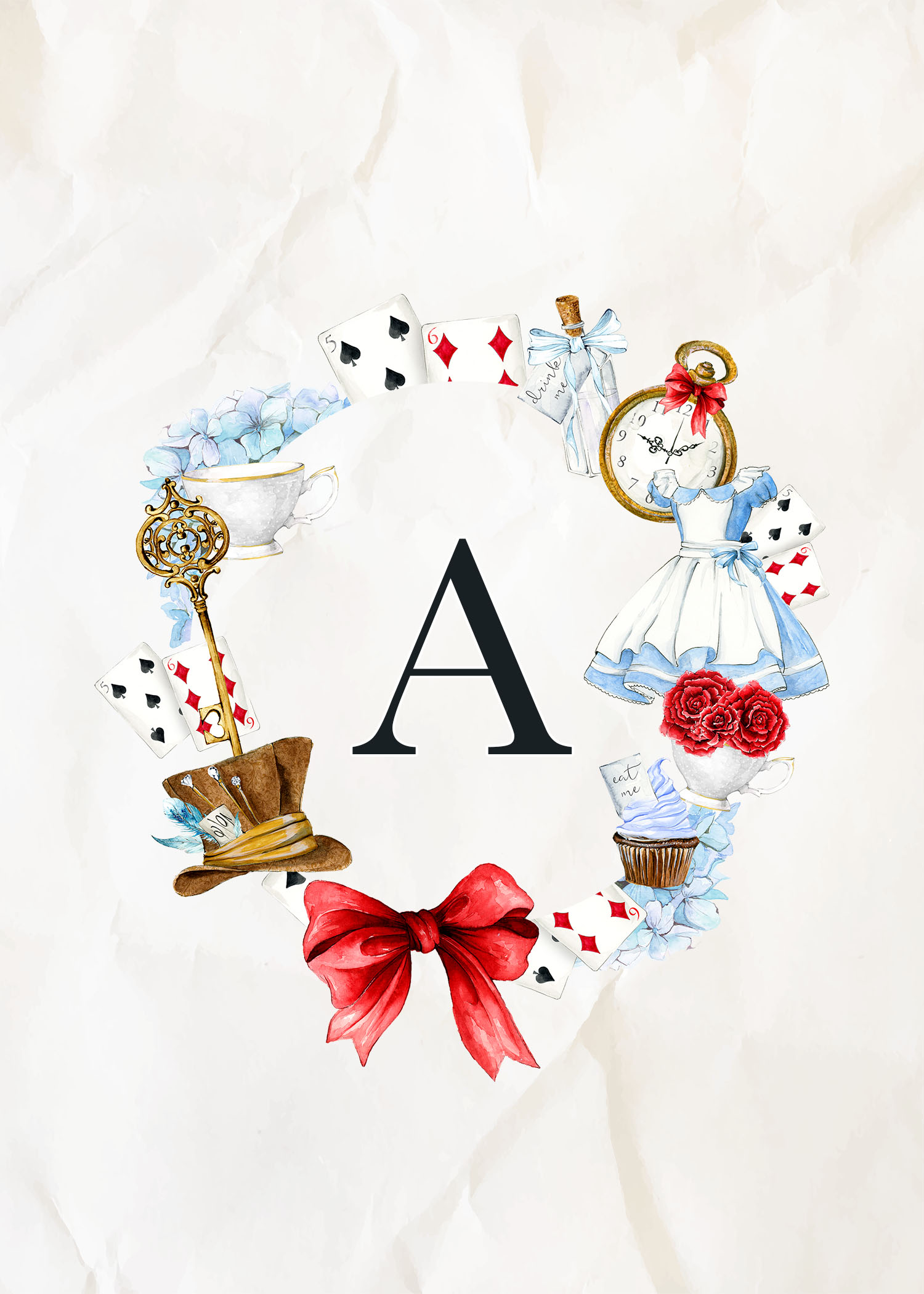 Free printable alice in wonderland monograms the cottage - Laminas decorativas para imprimir gratis ...