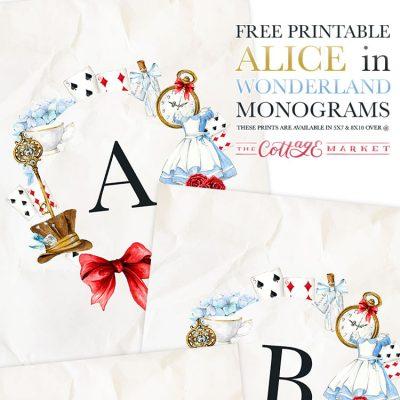 Free Printable Alice in Wonderland Monograms