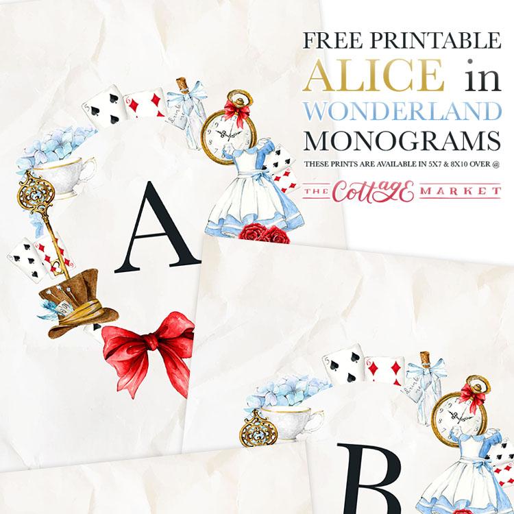 Free Printable Alice In Wonderland Monograms The Cottage