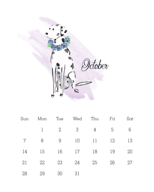 october 2018 watercolor dog calendar