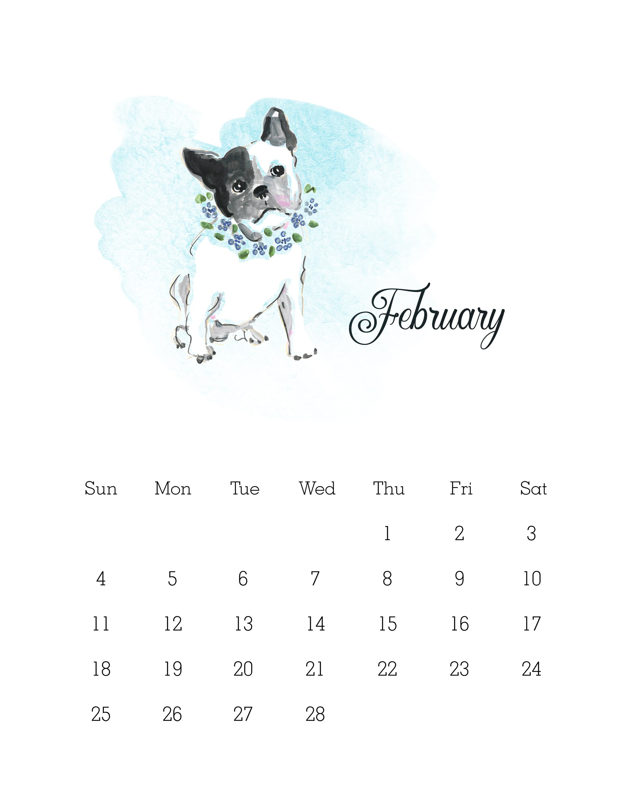 Free Printable 2018 Watercolor Dog Calendar - The Cottage Market