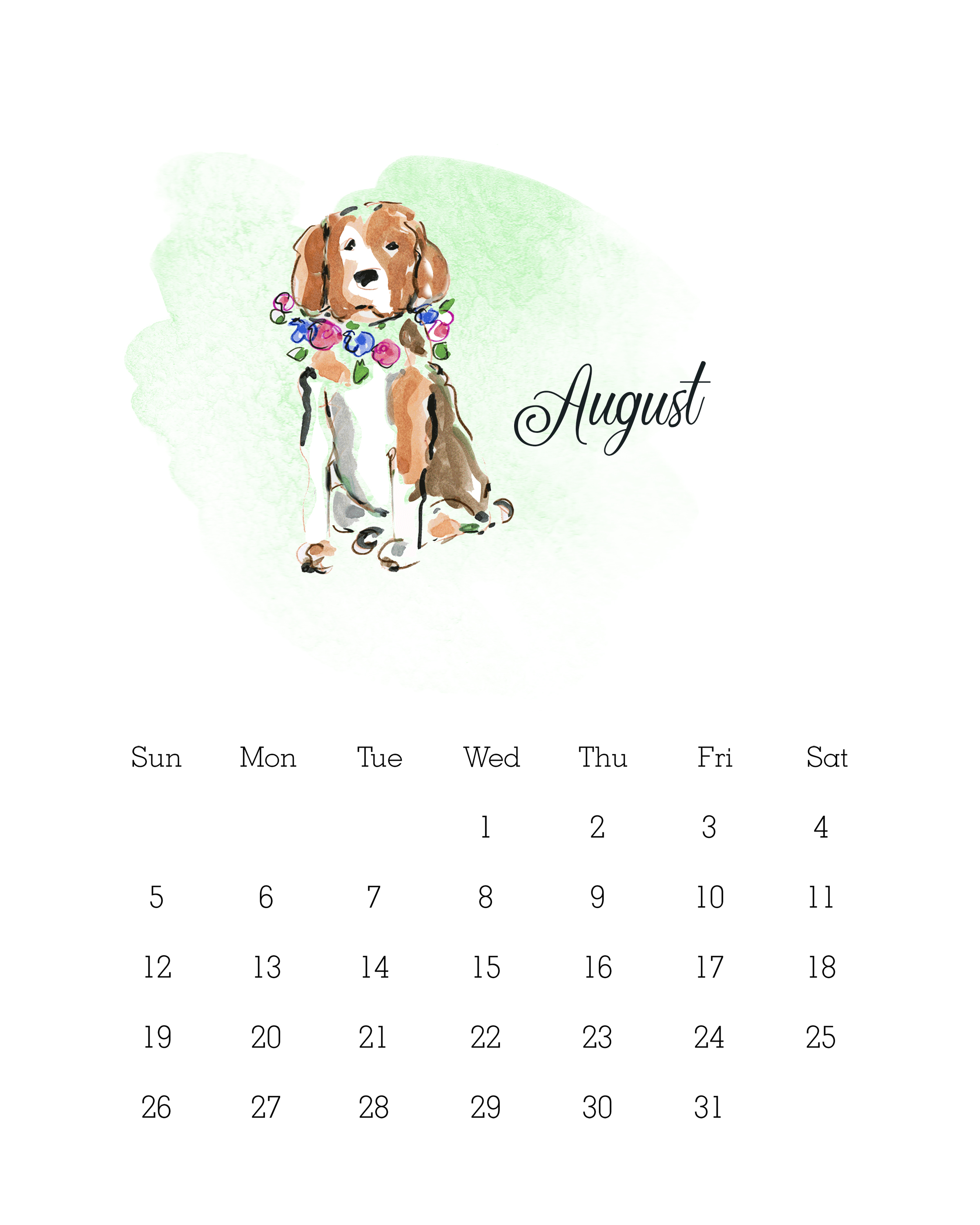 Free Printable 2018 Watercolor Dog Calendar The Cottage Market