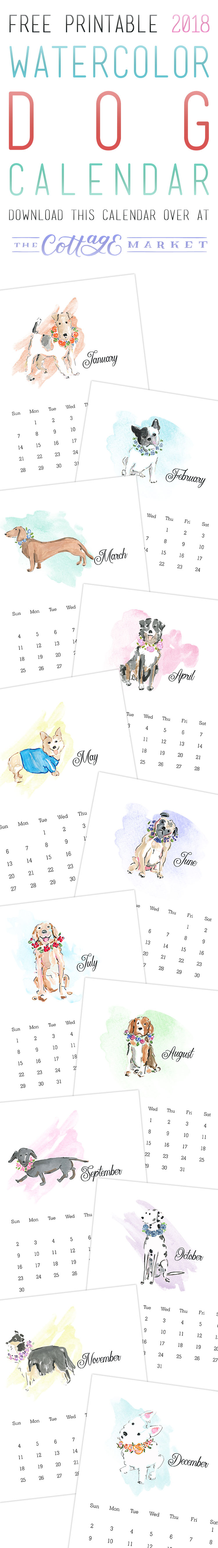 Free Printable 2018 Watercolor Dog Calendar from The Cottage Market