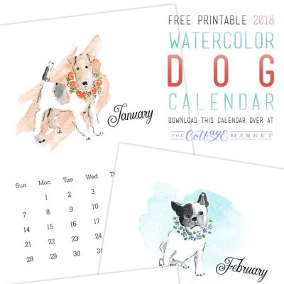 Free Printable 2018 Watercolor Dog Calendar