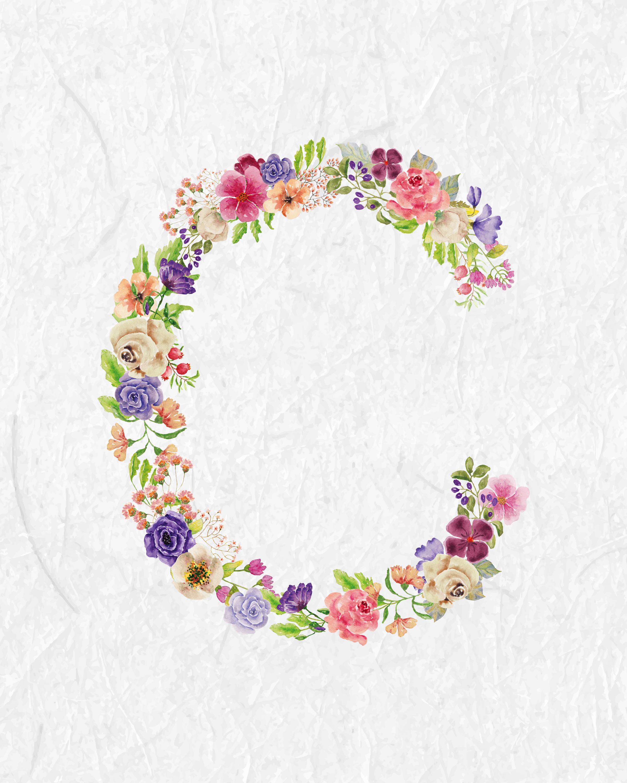 Free Printable Floral Monograms The Cottage Market