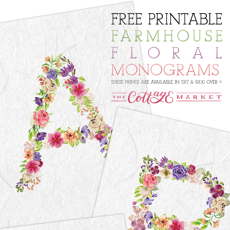 photograph relating to Free Monogram Printable identified as Absolutely free Printable Floral Monograms - The Cottage Market place