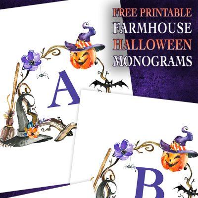 Free Printable Farmhouse Halloween Monograms and More!