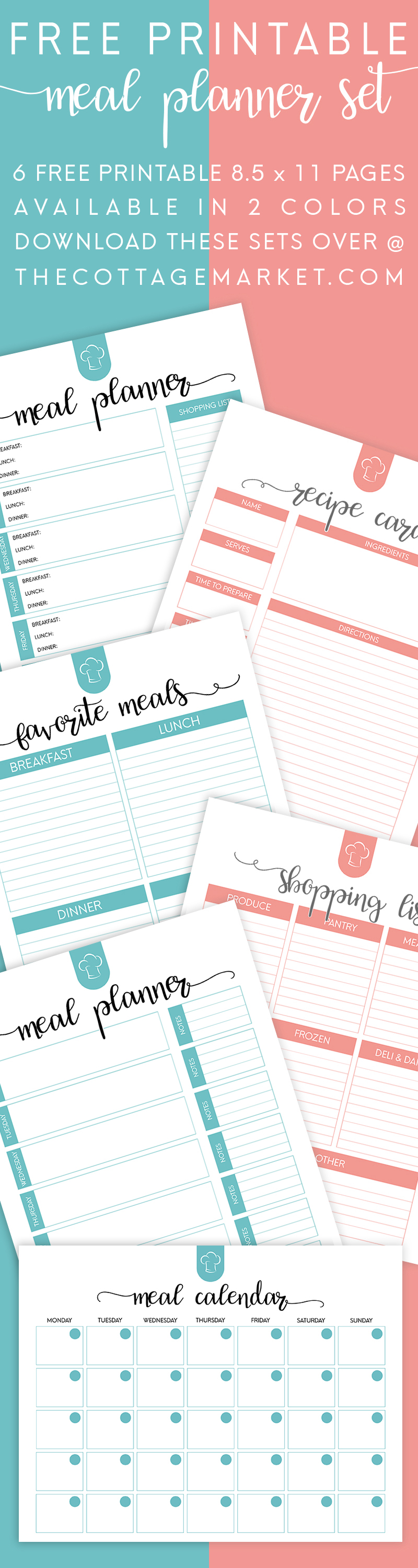 It is a photo of Influential Free Meal Planner Printable