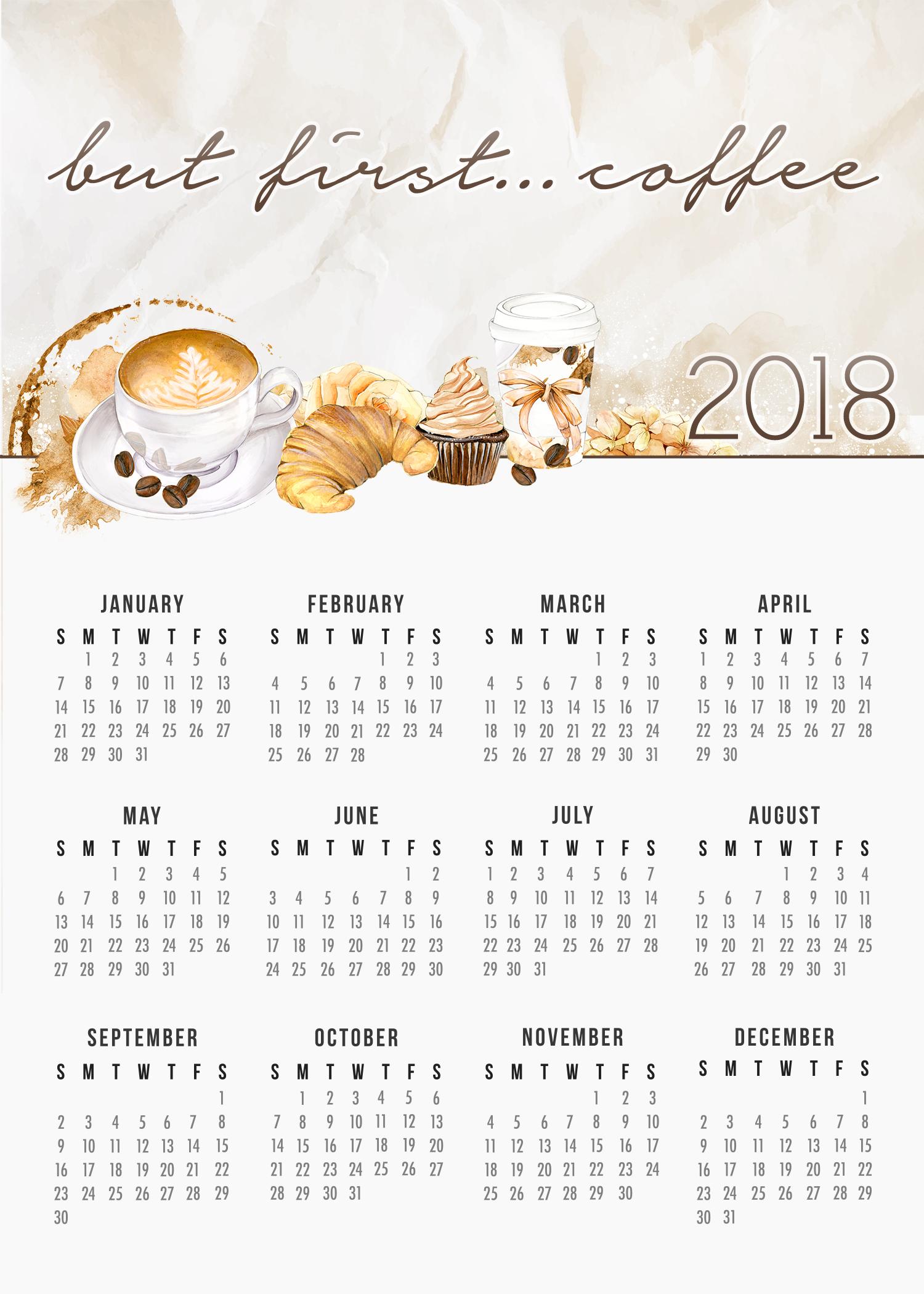 Calendar Cards Printables : Free printable farmhouse coffee lovers calendar the