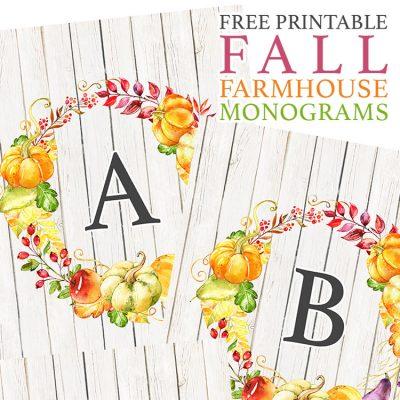 Free Printable Fall Farmhouse Monograms