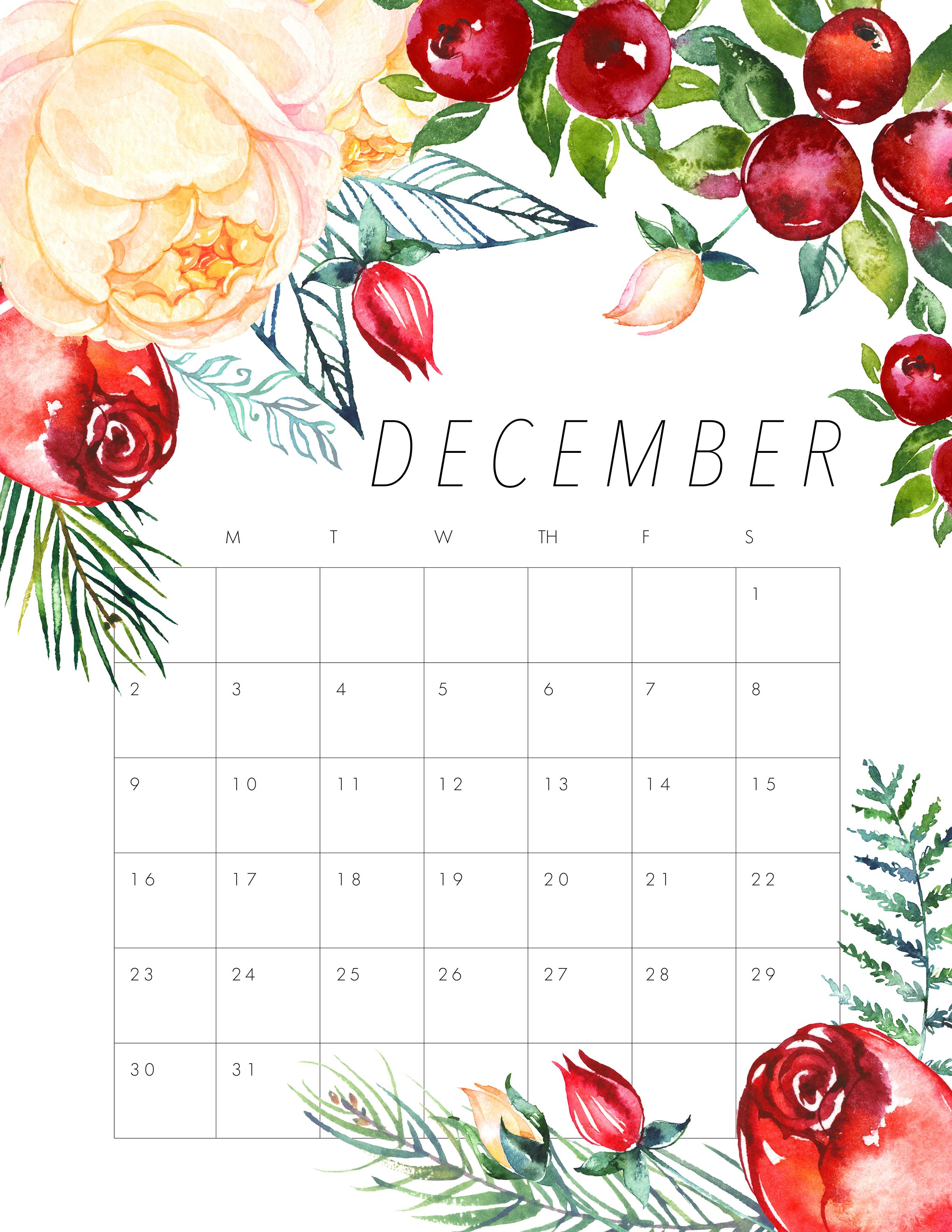 Calendar Design December : Free printable floral calendar the cottage market