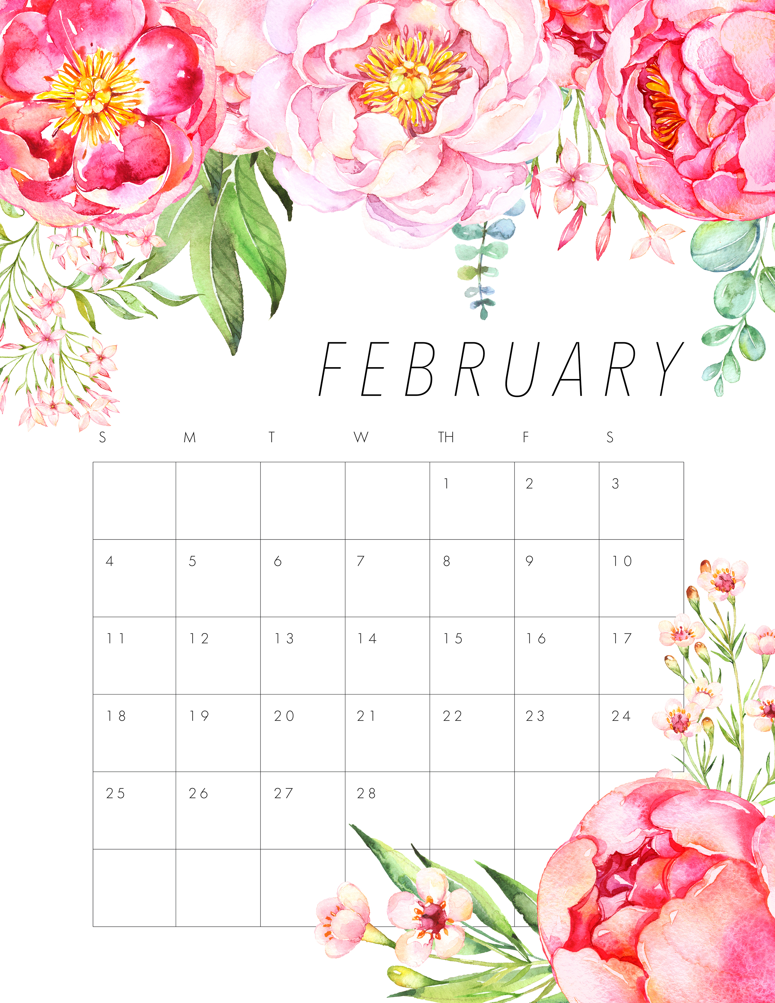 Calendar Flowers : Free printable floral calendar the cottage market