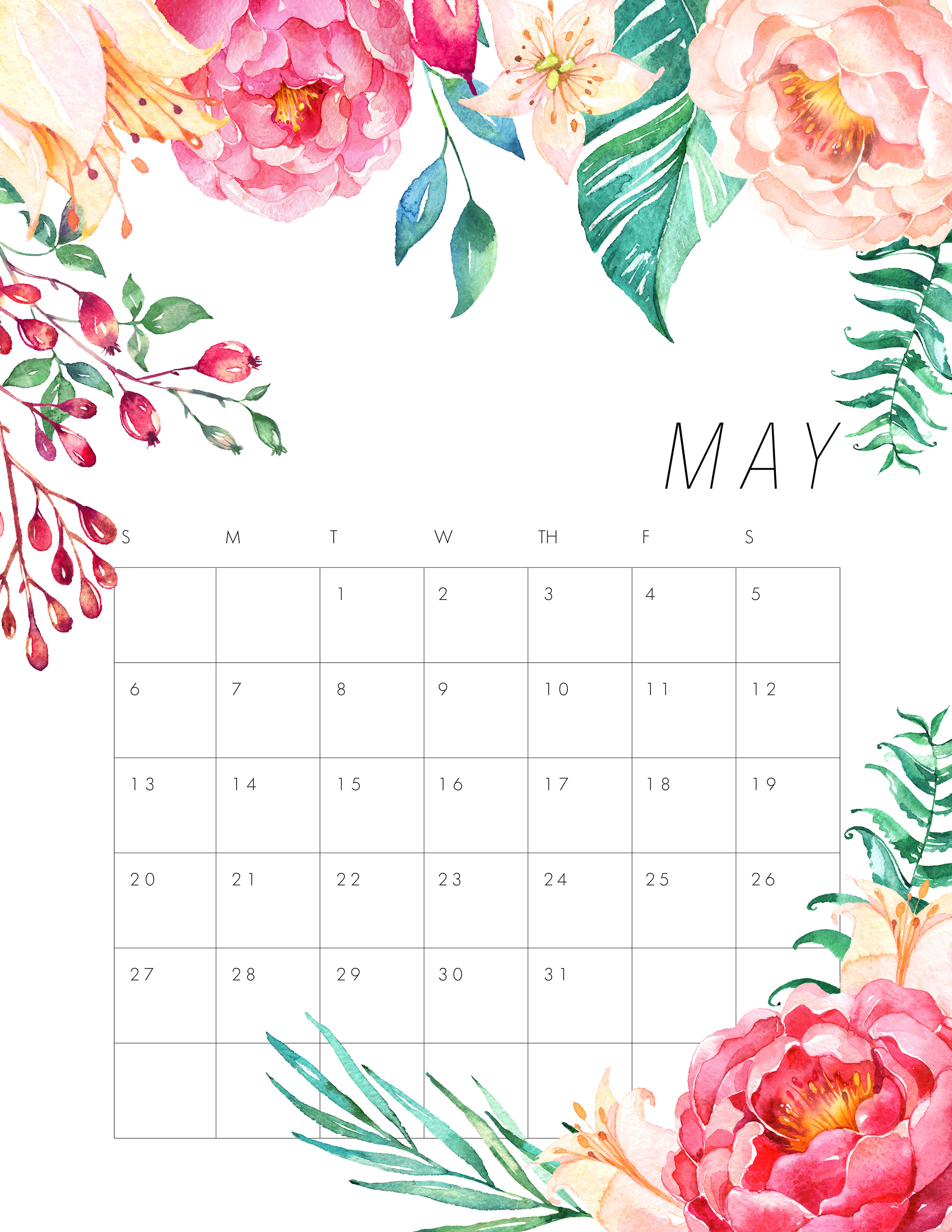 Calendar Girl May Free Read : Free printable floral calendar the cottage market
