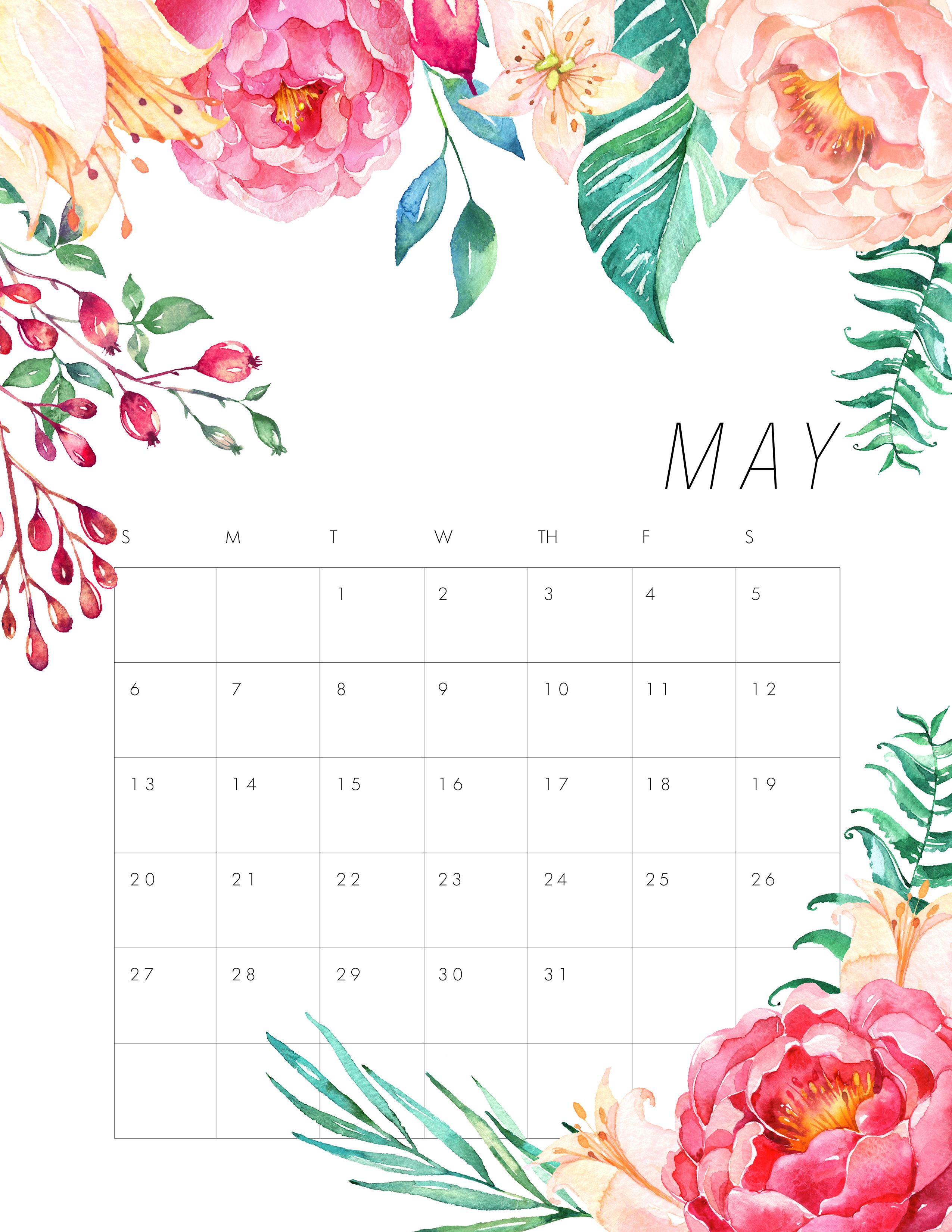April Rose Calendar : Free printable floral calendar the cottage market