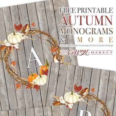 Free Printable Autumn Farmhouse Monograms