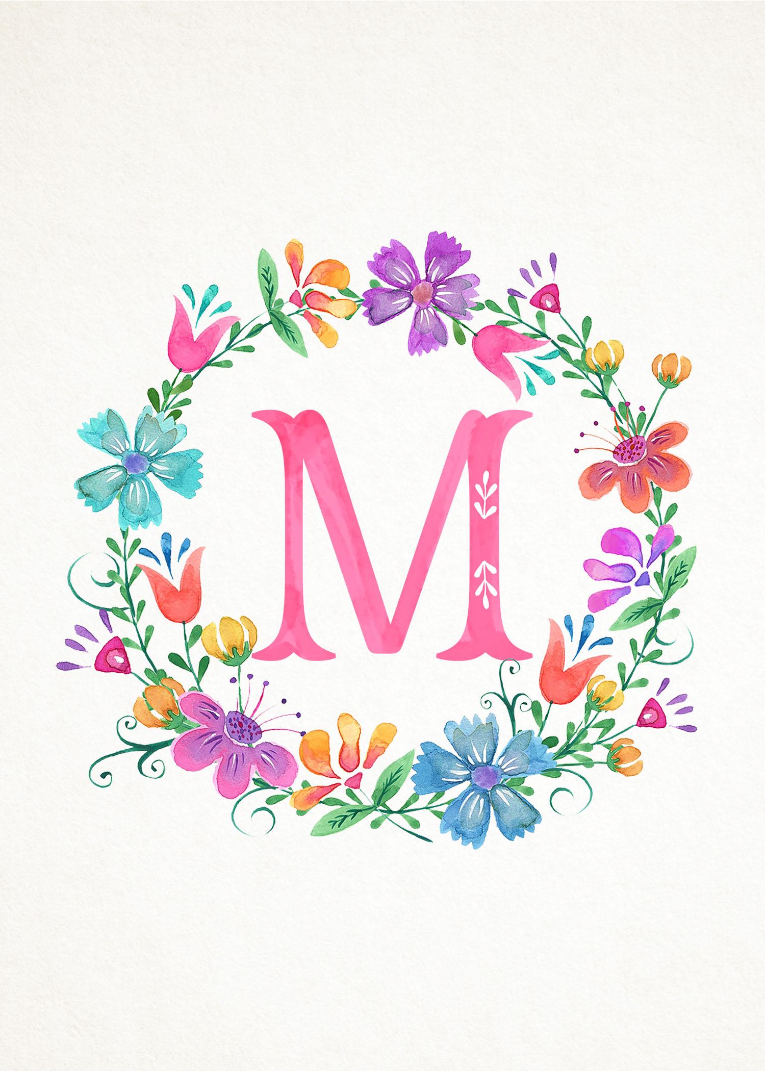 M N : free printable whimsical watercolor monograms the ~ Nature-et-papiers.com Idées de Décoration