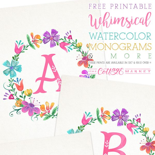 Free Printable Whimsical Watercolor Monograms