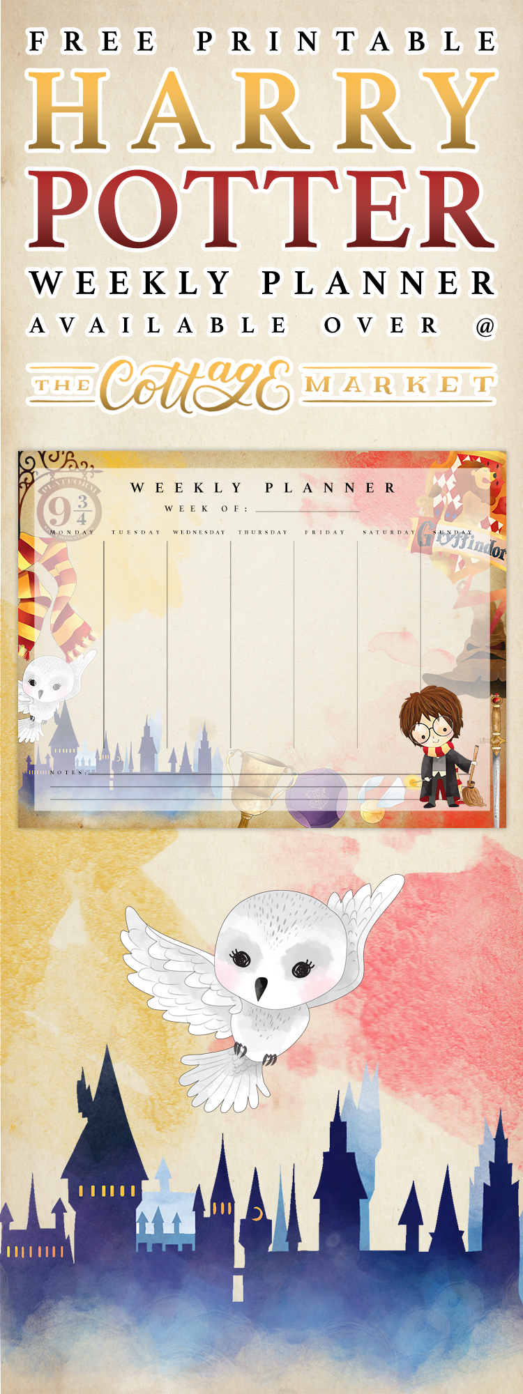 Free Printable Harry Potter Weekly Planner - The Cottage Market