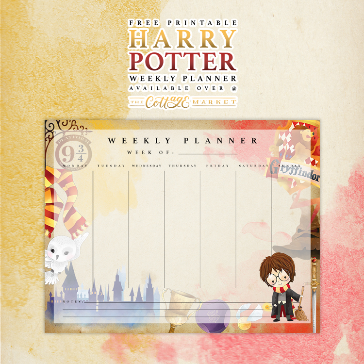 Free Printable Harry Potter Weekly Planner - The Cottage ...