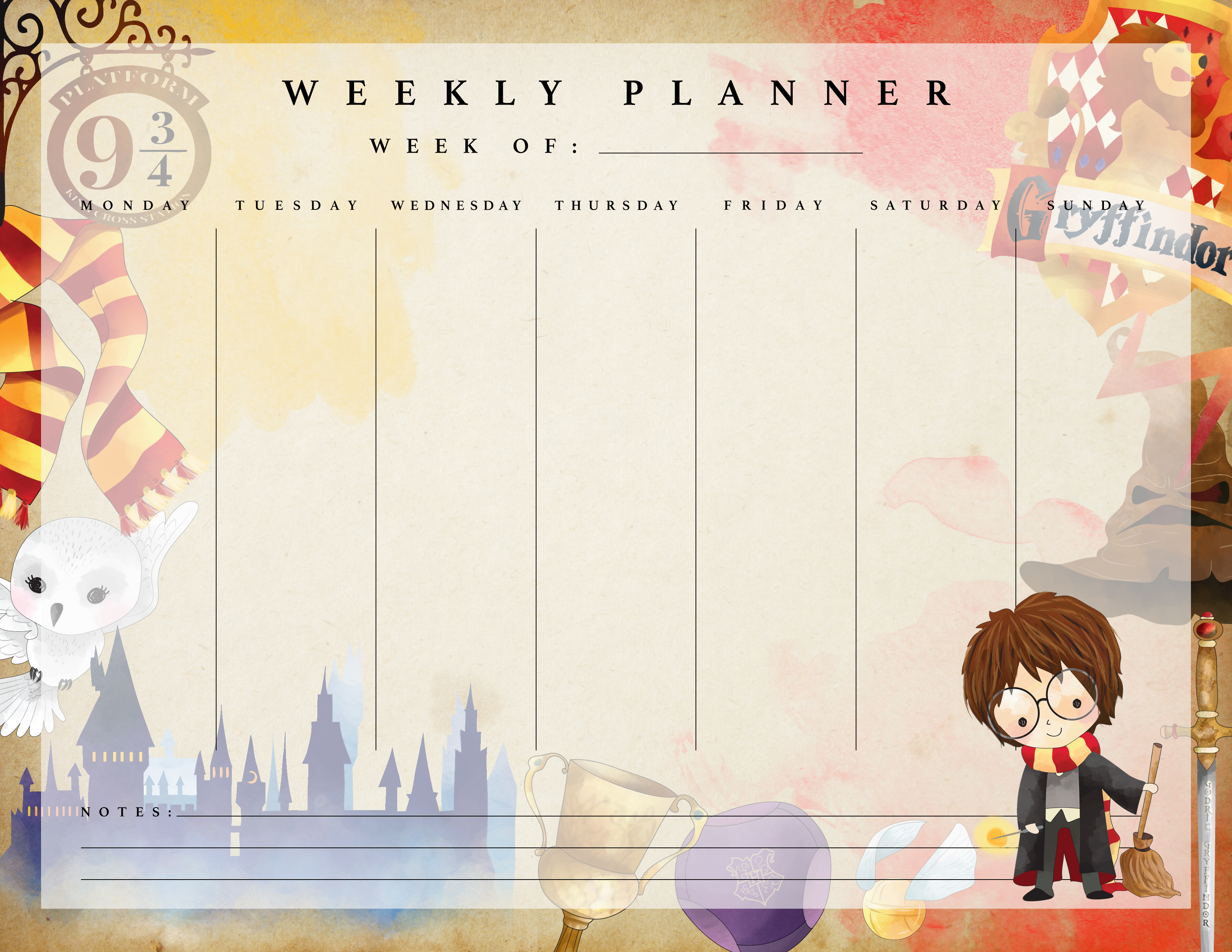 Free Printable Harry Potter Weekly Planner The Cottage