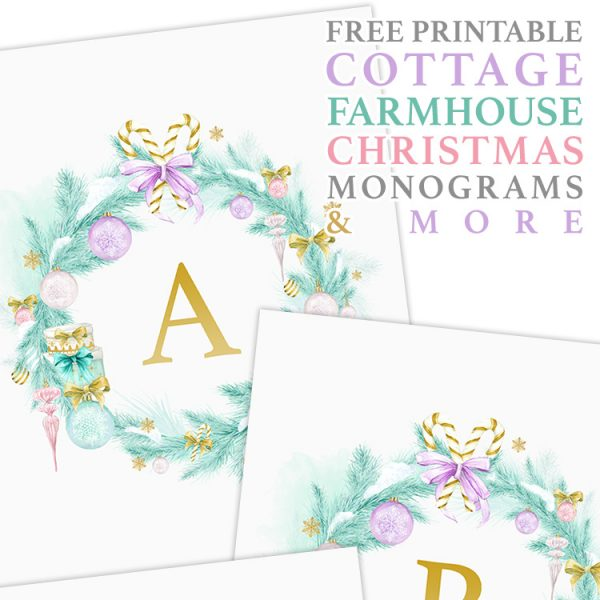 Free Printable Cottage Farmhouse Christmas Monograms