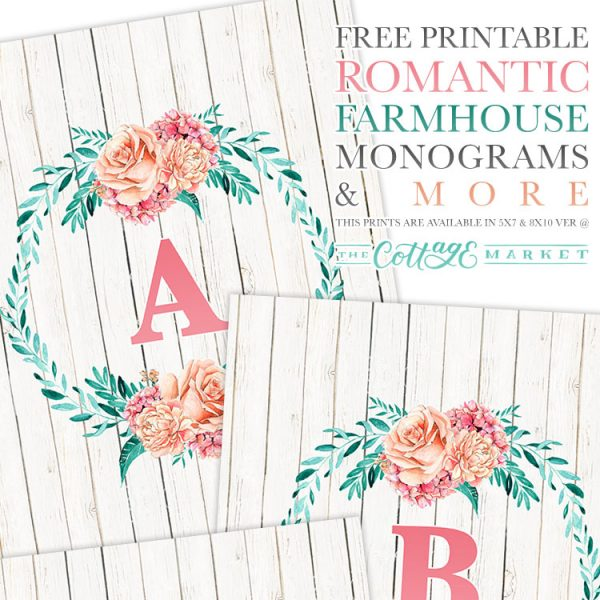 Free Printable Romantic Farmhouse Monograms and More