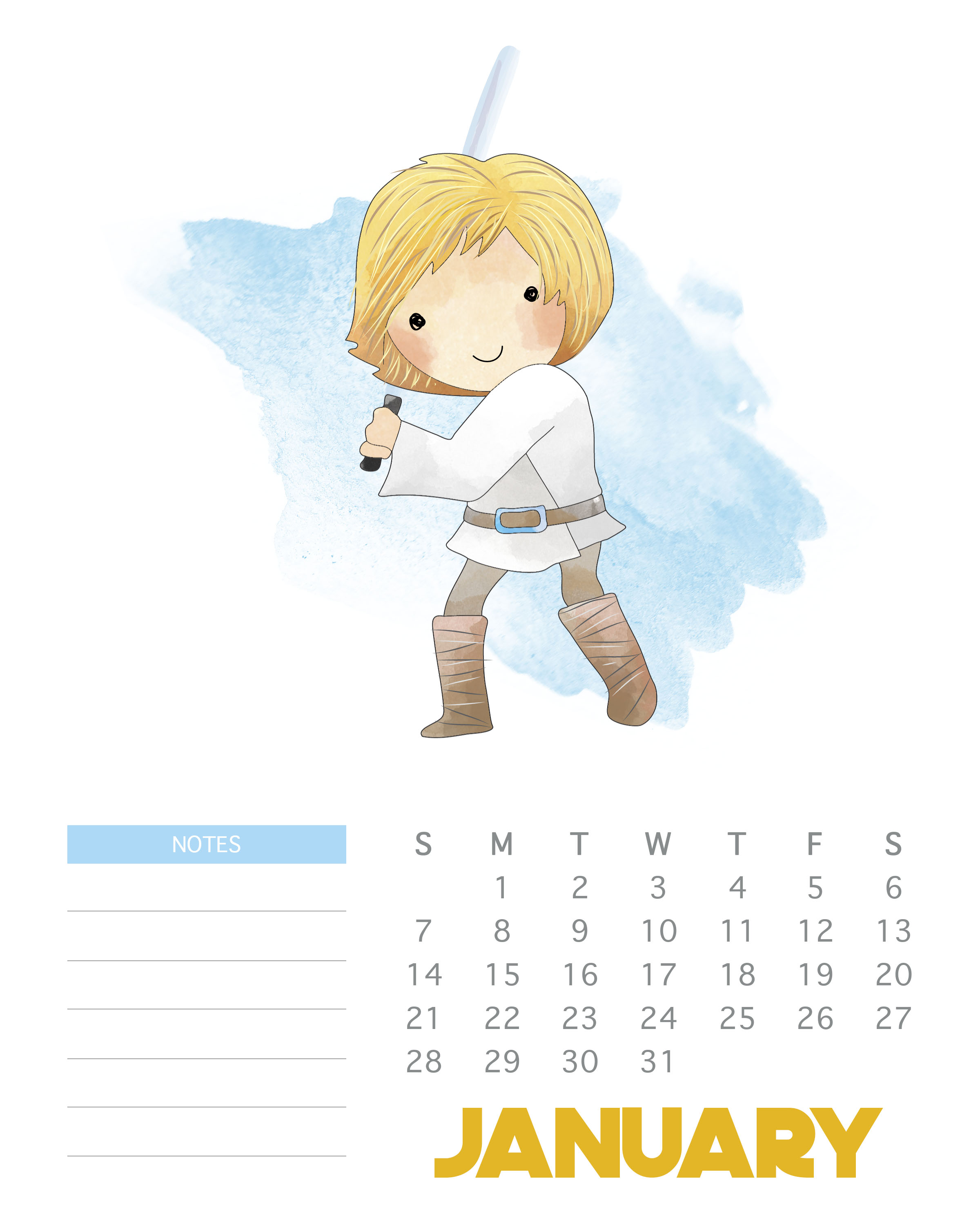 This free printable Star Wars calendar has cute character cartoons for each month