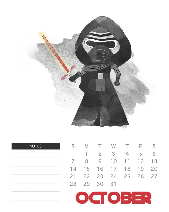 October 2018 - Free Printable Star Wars Calendar