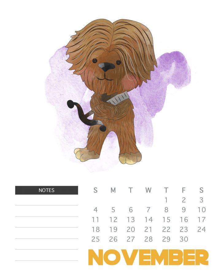 November - 2018 Star Wars calendar