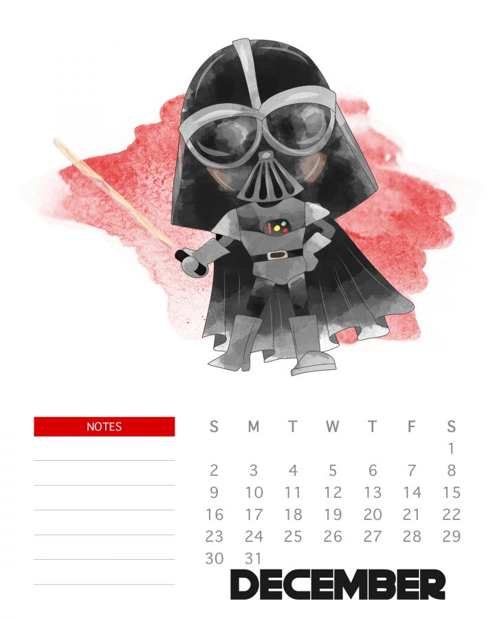 Darth Vader - December 2018 - Free Printable Star Wars calendar