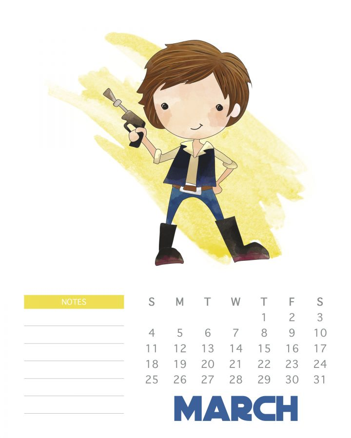 Han Solo - Free Printable Star Wars Calendar - March 2018