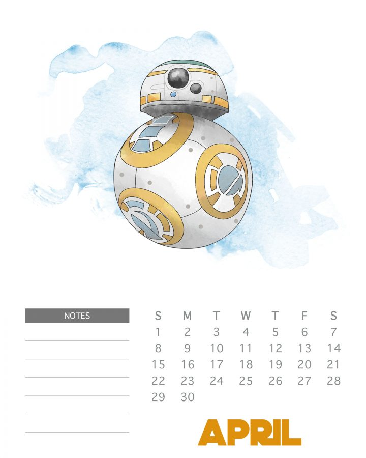 BB-8 - Star Wars Printable Calendar - April 2018