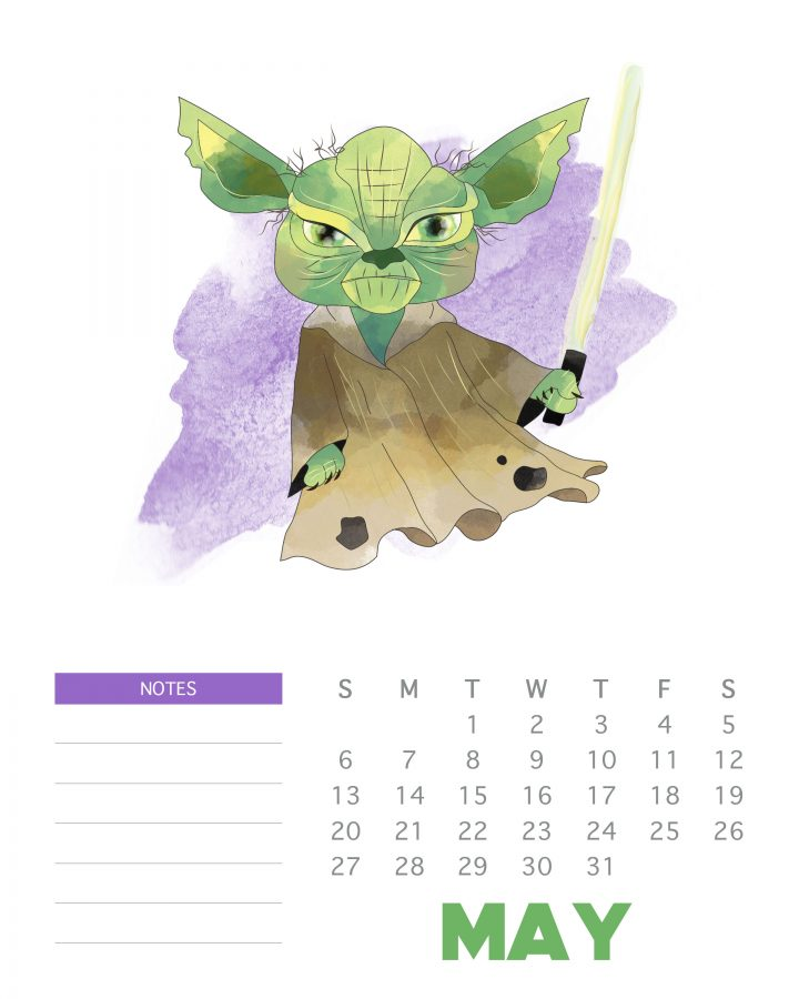 Printable Star Wars Calendar - May 2018 - Yoda