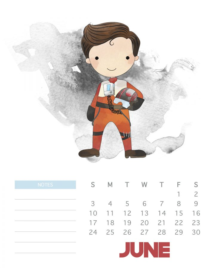 June 2018 - Free Printable Star Wars calendar